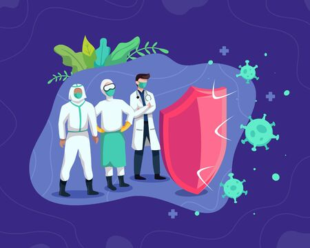 Health professional team. Professional doctors and nurses wearing protective suit. Fight covid-19 corona virus. Cure corona virus, Doctor fight virus. Vector in flat style Vettoriali