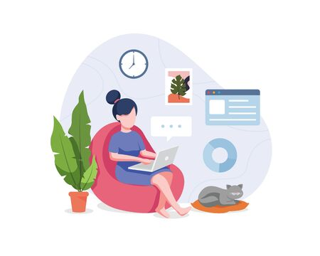 Vector illustration Work from home. Young woman sitting on sofa work on the laptop. Freelancer home workplace, Working from home to avoid spreading the coronavirus. Vector illustration in a flat style