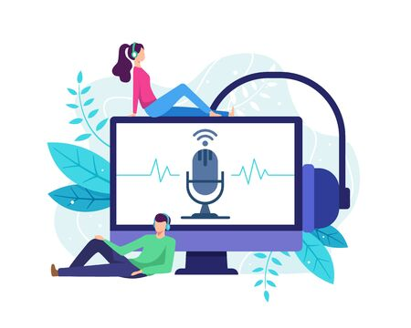 Podcast concept illustration. Listen to podcast with pc desktop, People with large computer monitor. Man and woman streaming online radio. Vector illustration in flat style Vettoriali
