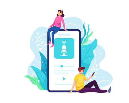 Podcast concept illustration. Listen to podcast with smartphone, People listen to online radio with mobile phones. Man woman streaming a podcast with smart phone. Vector illustration in a flat style