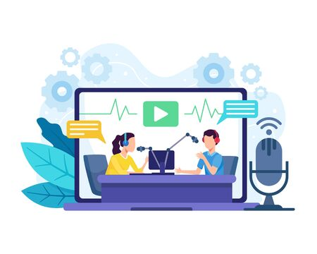 Podcast concept illustration. Female radio host interviewing guests on radio station. Podcast in studio flat vector illustration. Man and women in the laptop wearing headphones talking