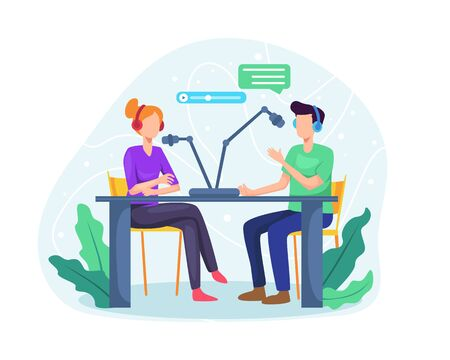Podcast concept illustration. Male radio host interviewing guests on radio station. Podcast in studio flat vector illustration. Man and woman in headphones talking. Vector in flat style