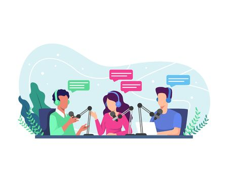Podcast concept illustration. Radio host interviewing guests on radio station. Podcast in studio flat vector illustration. Podcasting, broadcasting, online radio concept