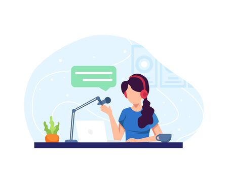 Podcast concept illustration. Female podcaster talking to microphone recording podcast in studio. Podcast in studio flat vector illustration. Concept of internet online radio