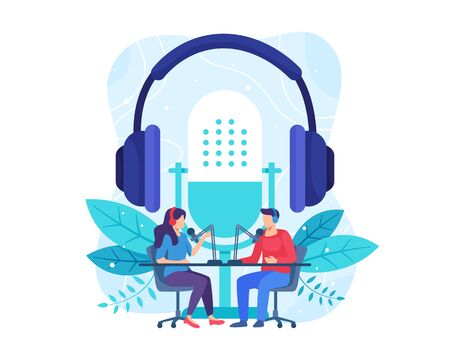 Podcast concept illustration. Female radio host interviewing guests on radio station. Podcast in studio flat vector illustration. Man and woman in headphones talking. Vector in flat style Vettoriali