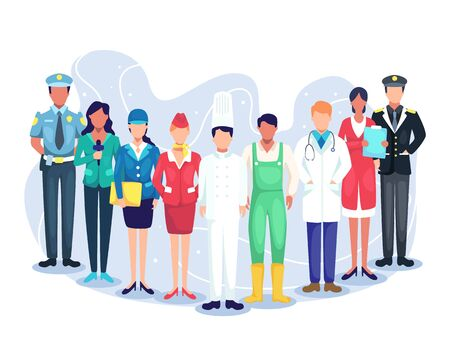 Professional workers labor day cartoons. Illustration speakers of podcast, experts from various professions. People group different occupation set, employees mix race workers. Vector in flat style Vettoriali