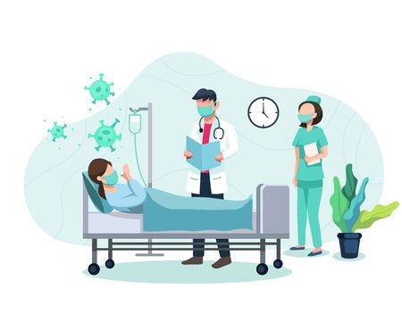 Vector illustration Treatment of patients exposed to covid-19 virus. Doctor and nurse examine patient, Treat patients with symptoms of corona virus. Coronavirus positive patient. Vector in flat style Vettoriali