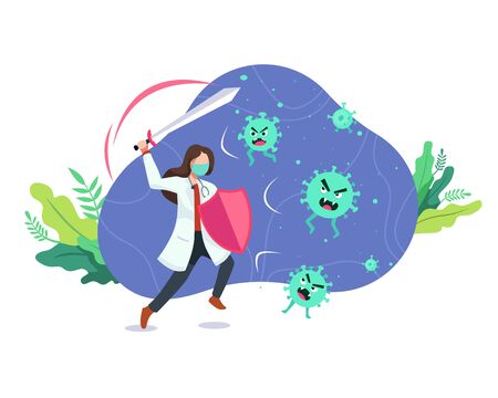 Doctor fighting the virus. Female doctor with a shield and sword, Fight and protecting from Covid-19 virus attacks. Fighting COVID-19 concept, Fights against Coronavirus. Vector in flat style
