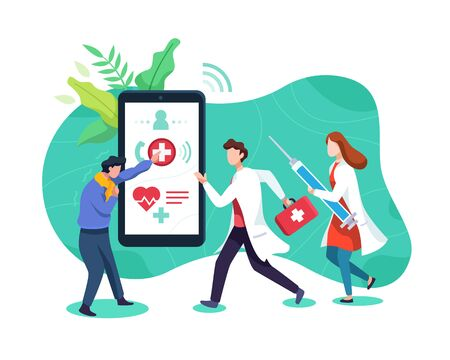 Emergency health call concept. Doctor respond to patient emergency call, Male and female doctors go to sick people. Sick man calls a doctor with a smartphone. Vector illustration in a flat style Vettoriali