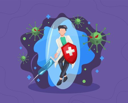 Male doctor fighting the virus illustrated. Doctor with a shield and syringe, Fight and protecting from Covid-19 virus attacks. Fighting COVID-19 concept, Fights against Coronavirus. Vector flat style