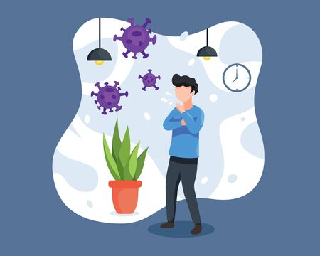Vector illustration a Man cough and having cold. Person with cold, coughing and eject a virus. Flu sickness by coronavirus concept, Sick person having cold. Vector illustration in a flat style