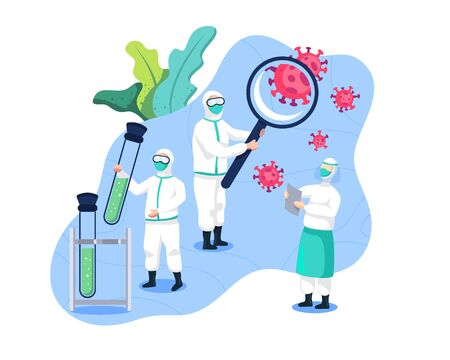 Research of vaccines and cures coronavirus. Medical team and scientists research Covid 19. Scientists and researchers are looking for vaccines and cures for the corona virus.Vector in flat style