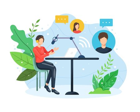 Podcast concept illustration. Male radio host interviewing guests on live stream. Podcast in studio flat vector illustration. Podcasting, broadcasting, online radio concept. Vector in flat style
