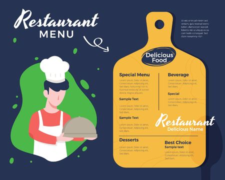 Vector illustration Male chef holding a tray. Creative menu design, Menu template and layout menu. Restaurant menu with men wearing apron and chef hat. Vector illustration in flat style