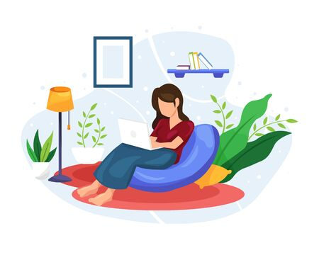 Vector illustration Women work and relax at home. Work from home with a laptop, Watch movies from a laptop. Self quarantine and isolation at home concept. Vector illustration in a flat style