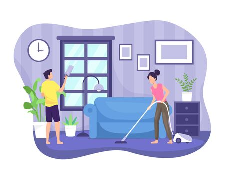 Vector illustration Couple cleaning the house. People doing together regular light work of a household, housekeeping management of duties and chores. Vector in flat style Vettoriali