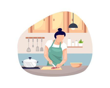 Vector illustration Woman cooking. Young woman cooking food in the kitchen, Woman in an apron is cooking. Vector illustration in flat style