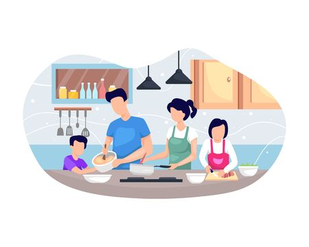 Vector illustration Family cooking together. Happy Family Cooking Food In The Kitchen Together. Vector illustration in flat style