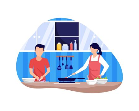Couple cooking together. Couple cooking food in the kitchen together. Man and woman in the kitchen. Vector illustration in flat style