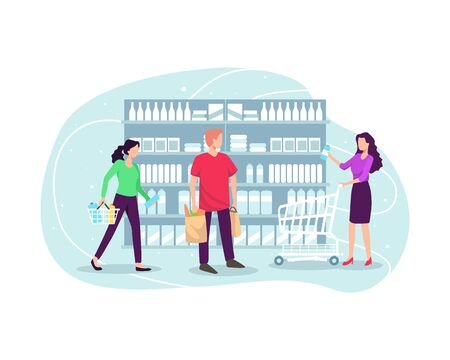 People shopping at supermarket and buying product. Choosing products on the shelves and pushing carts or shopping baskets, Grocery shopping concept. Vector illustration in flat style