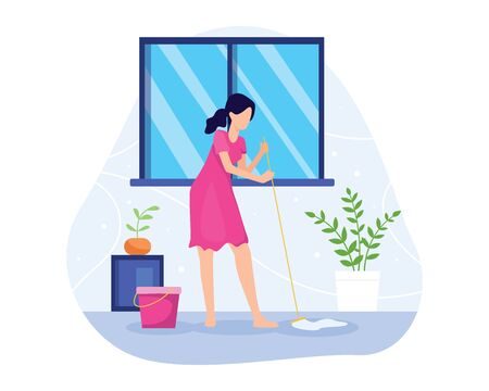 Vector illustration Woman mopping the floor. Sweeping and mopping the floor, Wife cleans the floor of the house. Housewife, Housekeeping, Household themes. Vector illustration in flat style