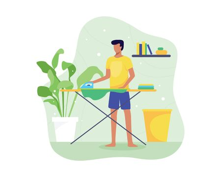 Vector illustration Young man ironing clothes. Ironing and folding clothes routine, Man ironing clothes on an ironing board. Cartoon house husband, Housekeeping theme. Vector in flat style Vettoriali