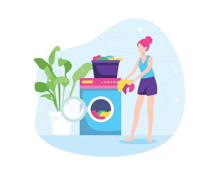 Vector illustration of girl washing clothes. Washing dirty clothes in the laundry, women washing clothes in the washing machine. Housewife, Housekeeping, Household themes. Vector in flat style