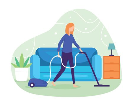 Clean the floor and carpet with a vacuum cleaner. Woman cleaning the dust with a vacuum cleaner. Wife cleans the house. Housewife, Housekeeping, Household themes. Vector illustration in flat style Vettoriali
