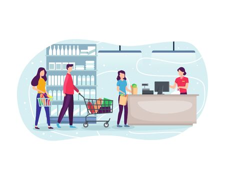 People shopping at supermarket and buying product. People line up at the cashier, Grocery shopping concept. Queuing at the cashier to pay for groceries. Vector illustration in flat style