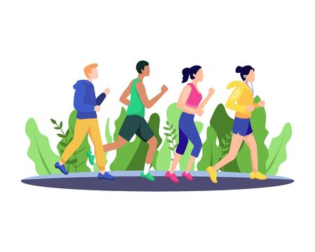 Vector illustration Jogging people. Marathon race group, Running men and women sports background. People runner race, training to marathon, jogging and running illustration. Vector in flat style