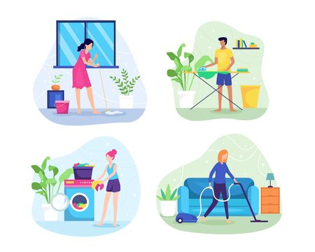 Vector illustration People do housework. A woman is mopping the floor, Washing clothes, Vacuuming the floor and carpet, Young men ironing clothes. Vector illustration in flat style