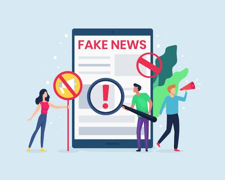 Vector illustration People check the news on the internet. Concept of spreading fake news, Hoax on the internet and social media. campaign to stop hoax and check the news. Vector in flat style