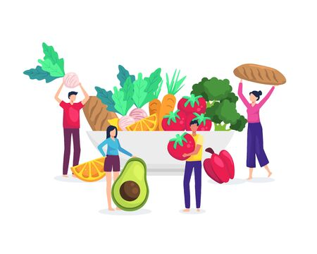 Vector illustration Healthy food concept. People bring food from big bowls. Fresh fruits and vegetables, Nutrition from healthy food. Vector in flat style