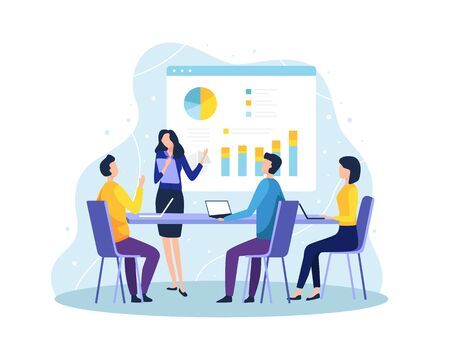 Vector illustration Concept of meeting and teamwork. Employee at meeting discussing and presenting project. Secretary explain the presentation in front of the project team member. Vector in flat style