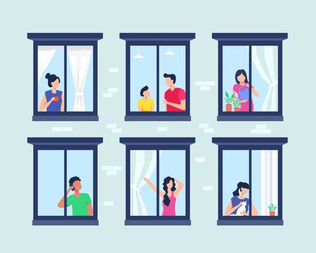 Apartment building with people in open window. Set of neighbors during various activity in windows of house on brick wall. Windows with people, Opened window neighbors people. Vector in flat style