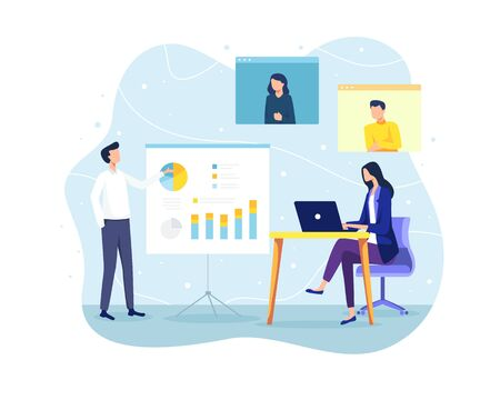 Vector illustration Concept of meeting and teamwork. Employee at meeting discussing and presenting project. Online meeting, Video conference concept. Vector in flat style