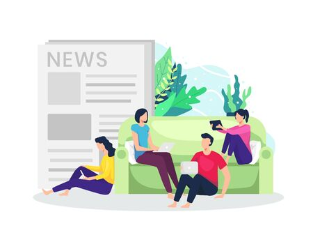 People read news from gadget. Concept of reading newspapers from the internet with smartphone, Tablet and laptop. Reading news and articles on the internet at home. Vector in flat style
