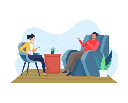 Psychotherapy counseling concept. Psychiatrist doctor and patient, Treatment of dementia and mental problems. Psychologist woman and man patient in therapy session. Vector illustration in flat style Vettoriali