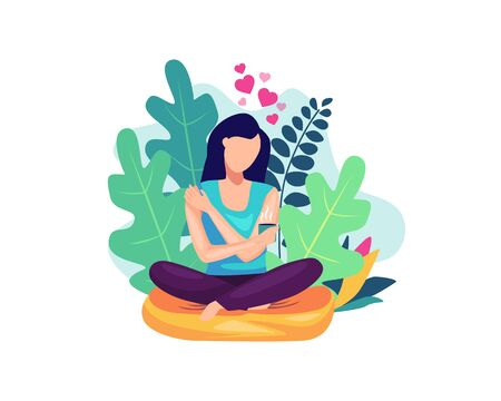 Vector illustration Self care concept. Woman hugging herself with holding a cup of coffee, Happy woman hugging herself. Woman illustration with floral decoration. Vector illustration in flat style