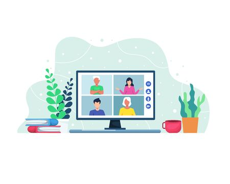 Vector illustration Video conference concept. Video conferencing and online meeting workspace. People on computer screen. Vector in flat style