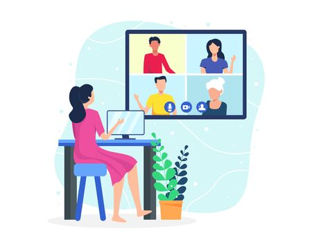 Vector illustration Video conference concept. People on computer screen taking with colleague. Video conferencing and online meeting workspace. Vector in flat style