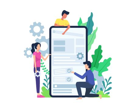Vector illustration People build mobile application. Developer build mobile application, Men and women develop mobile application. Mobile apps developer concept. Vector in flat style