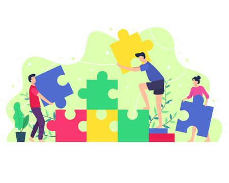 Vector illustration People composing a puzzle. Concept of teamwork, Men and women bring puzzles to be composed. Cooperation, Collaboration and Brainstorming concept. Vector in flat style Çizim