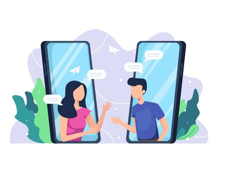 Vector illustration Communicate from a smartphone. People come out of mobile screen, Online communication concept, Video call, Online chat. Vector illustration in a flat style