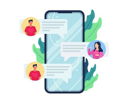 Vector illustration Online chat concept. People communicate with smartphone, Men and women reciprocate messages via the internet. Online communication, Social media concept. Vector in flat style Vettoriali