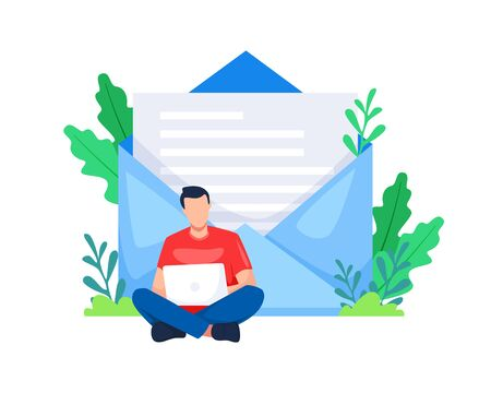 Vector illustration Man sitting by opening a laptop. Concept of an email marketing business, Referral marketing. Young man opened a laptop with a letter background. Vector in flat style Vettoriali