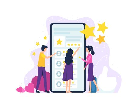Vector illustration People review the application. Men and women in front of the smartphone screen give a rating. Concept of customer reviews and satisfaction. Vector illustration in flat style