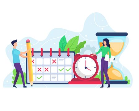 Vector illustration of time management. People manage schedule and time, time and schedule setting. Vector illustration in flat style Vettoriali