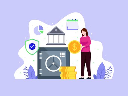 Vector illustration Woman brings coins to a safe. Closed bank safe, dollars in a deposit box. Concept of deposit is saving money in a bank. Money saving dollar coins banknotes. Vector in flat style Vettoriali