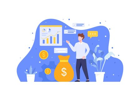 Analyze and manage investment. Investment and analysis money cash profits, Employee or manager making investing plans. Calculating benefits, Career growth and Business success. Vector in flat style